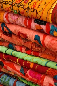 pile of cloth at market